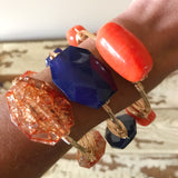 Orange Rectangle Bead Bangle