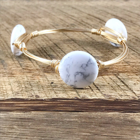 While Howlite Bead Bangle