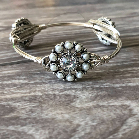 White Pearl and Crystal Bangle