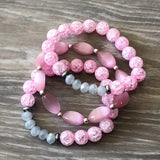 Pink and Gray Beaded Bracelet
