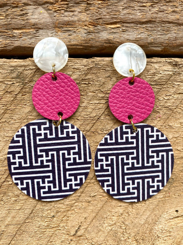 Navy and Pink Leather Earrings