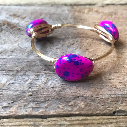 Dark Pink Speckled Bangle
