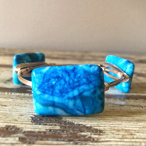 Blue Agate Wire Bangle