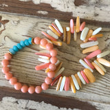 Peach and turquoise bracelet