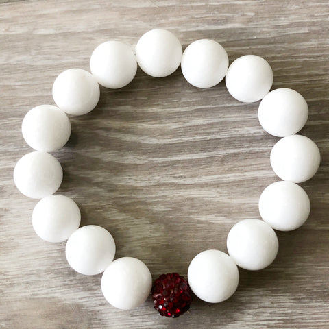 White and Red Beaded Bracelet