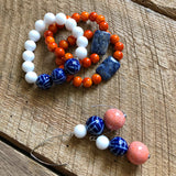 Blue, White and Orange Beaded Earrings