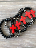 Black and Red Cross Bracelet