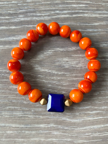 Orange and Blue Beaded Bracelet