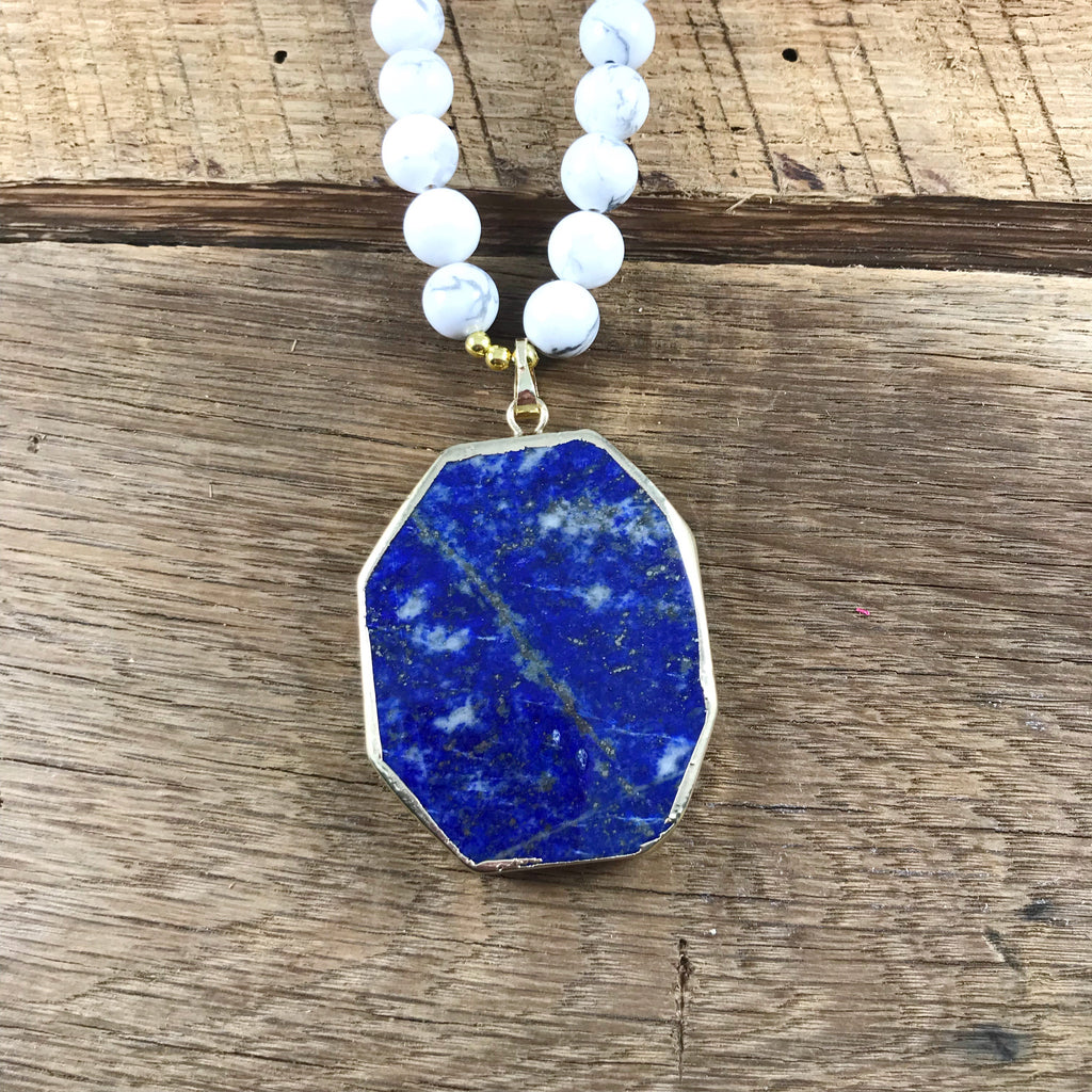 Blue and White Pendant Necklace
