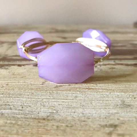 Light Purple Acrylic Wire Wrap Bangle
