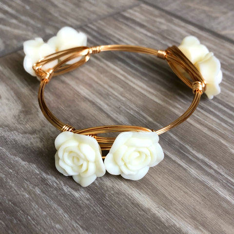 Cream Rose Bangle