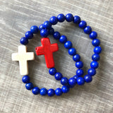 Blue and Red Cross Bracelet