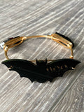 Black Bat Acrylic Bead Bangle