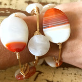 Orange Banded Agate wire wrap bracelet
