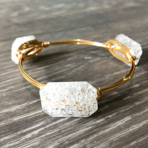 White Cracked Glass Bangle