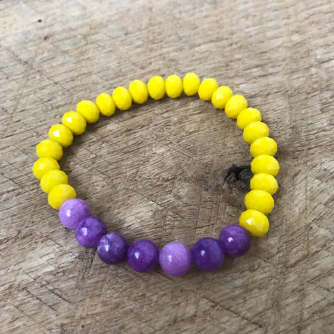 Yellow and Purple Beaded Bracelet