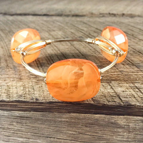 Creamy Orange Bead Bangle
