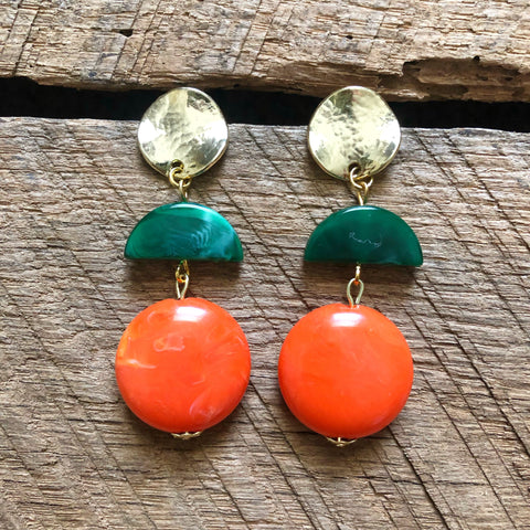 Green and Orange Beaded Earrings