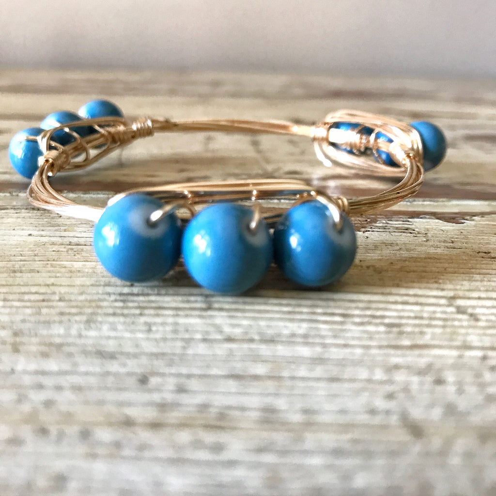 Blue bead wire wrap bangle