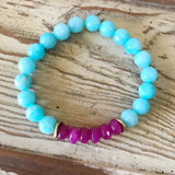 Turquoise and Pink Beaded Bracelet