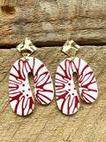 Red and White Acrylic Earrings
