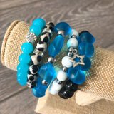 Sky Blue and Silver Beaded Bracelet