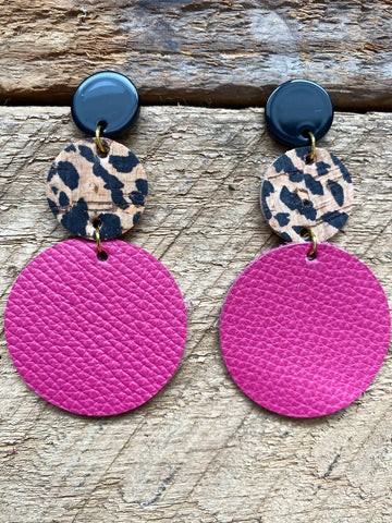 Pink and Cheetah Leather Earrings