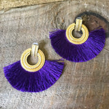 Purple Fringe Tassel Earrings