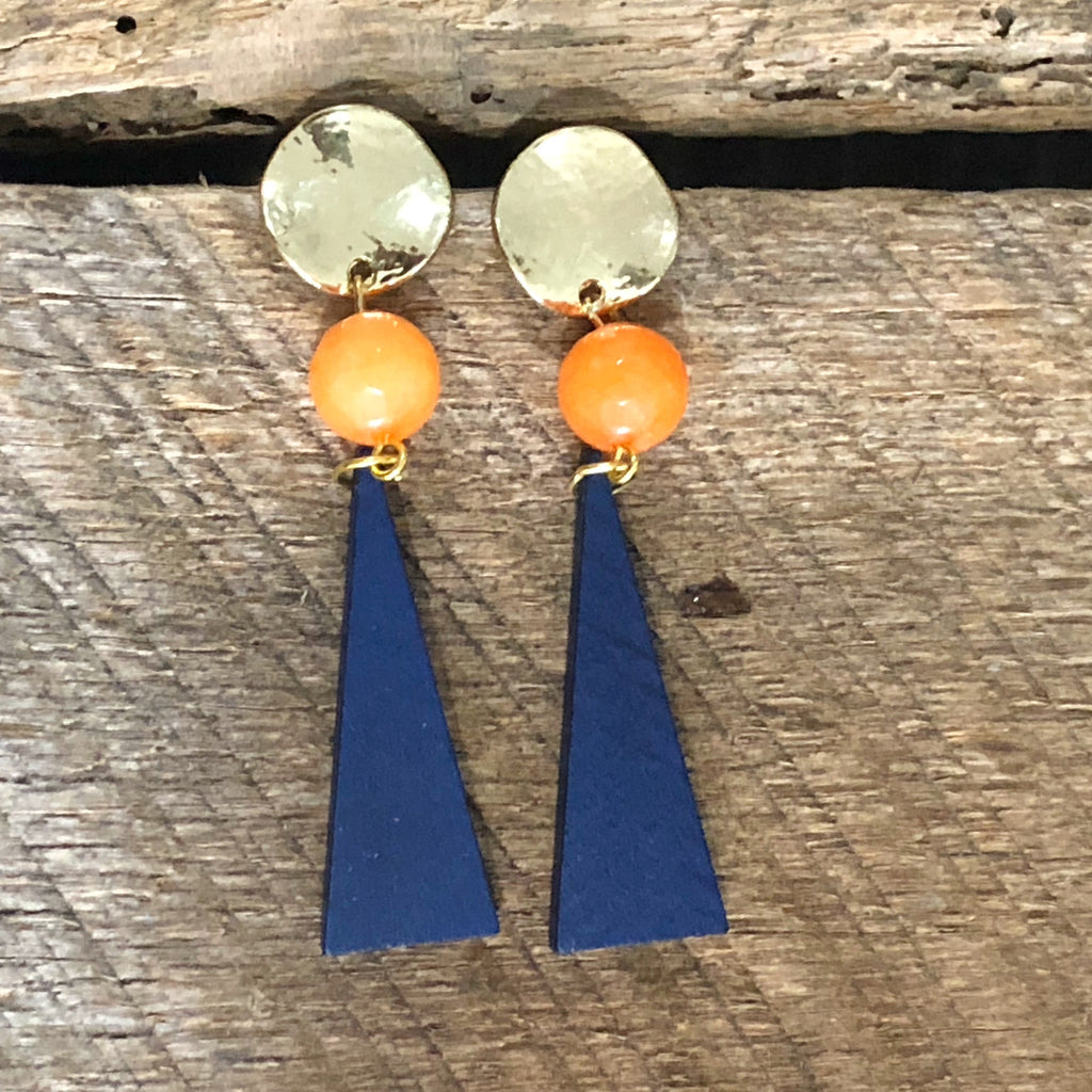 Navy and Orange Bead Earrings