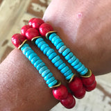 Red and Turquoise stretch bracelets