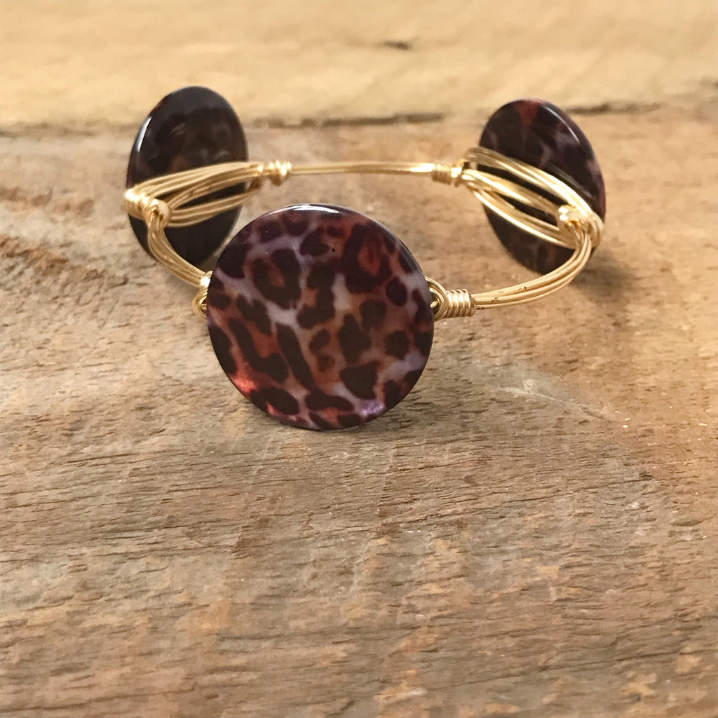Leopard Print Wire Bangle
