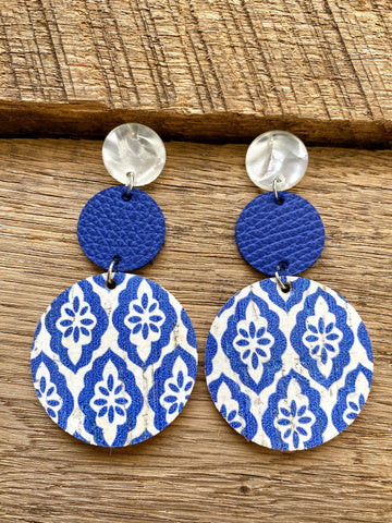 Blue and White Leather Earrings