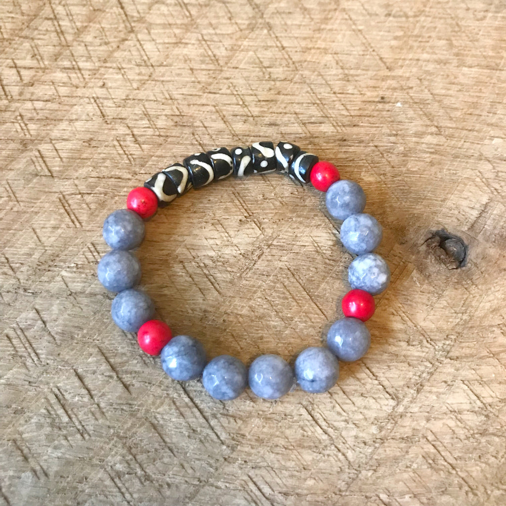 Gray, Red and Black Bracelet