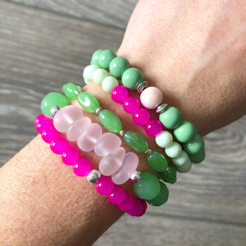 Green and Pink Bracelet Stack