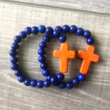 Blue and Orange Cross Bracelet