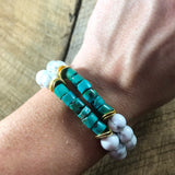 Turquoise and Howlite Beaded Bracelet