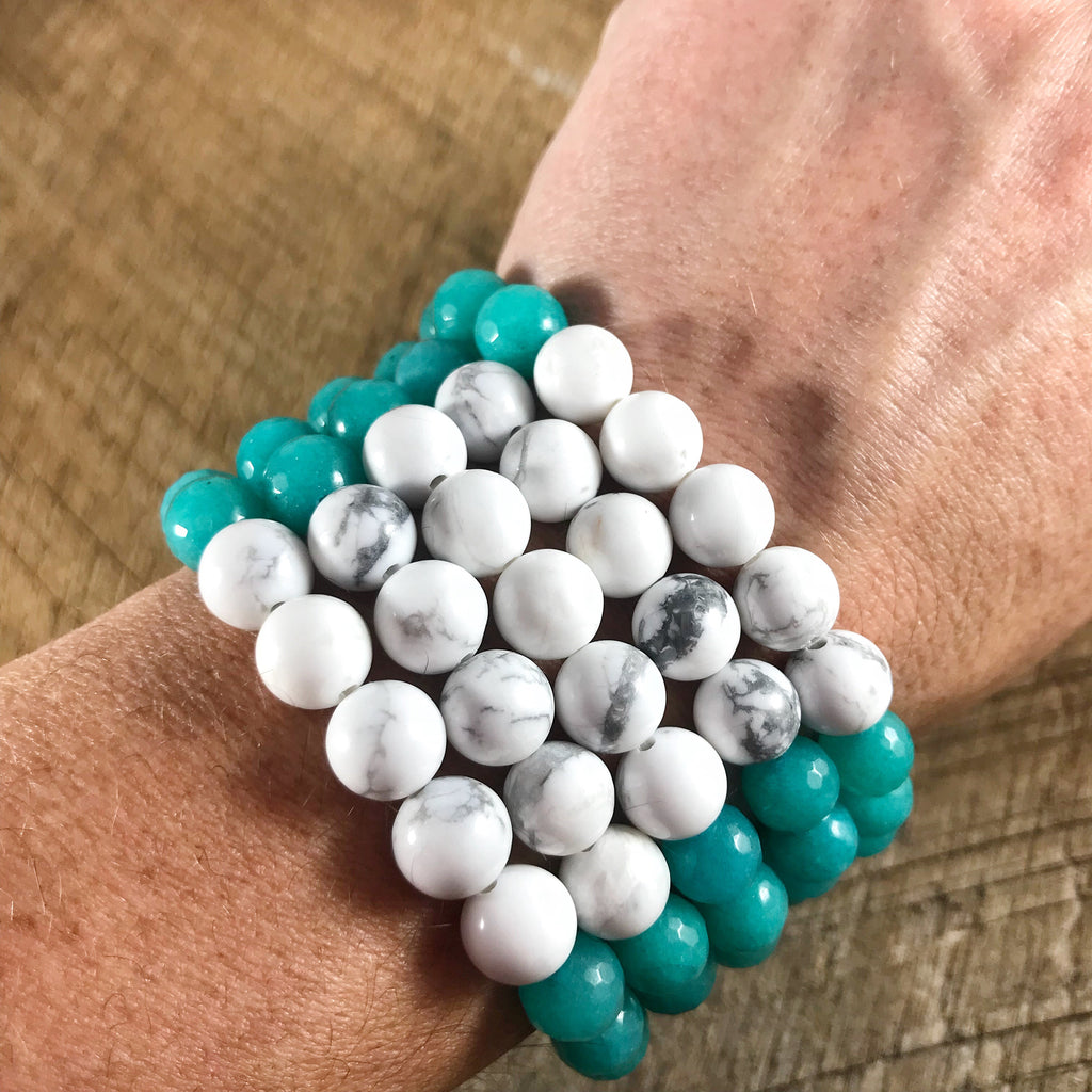 Turquoise and White Howlite Beaded Bracelets