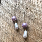 Pink and White Pearl Drop Earrings