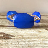 Large Royal Blue Acrylic Bead Wire Bangle