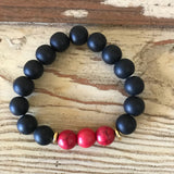 Red and Matte Black Stretch Bracelet