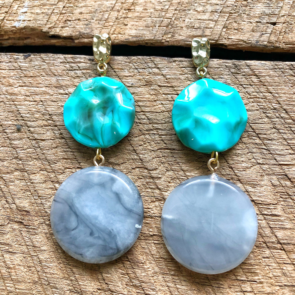 Grey and Turquoise Earrings