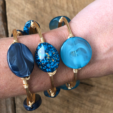 Shades of Blue Bangle Stack