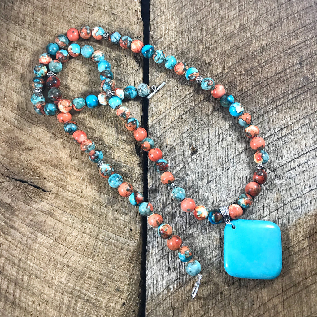 Turquoise and Orange Pendant Necklace