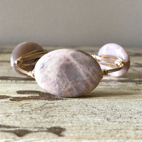 Peach Moonstone Wire Wrap Bangle