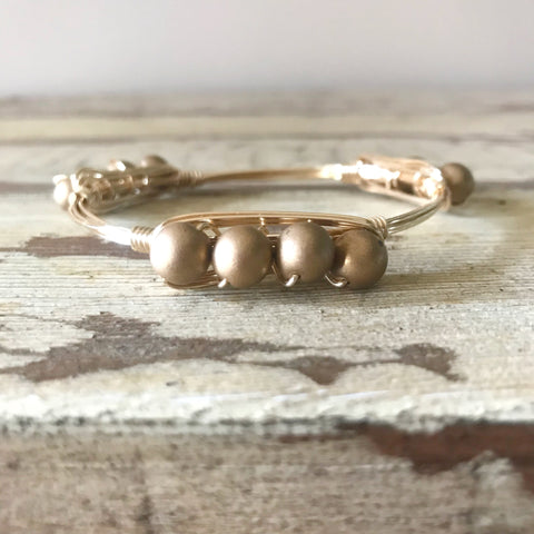Matte Gold Beaded Bangle