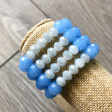 Blue and Gray Beaded Bracelets