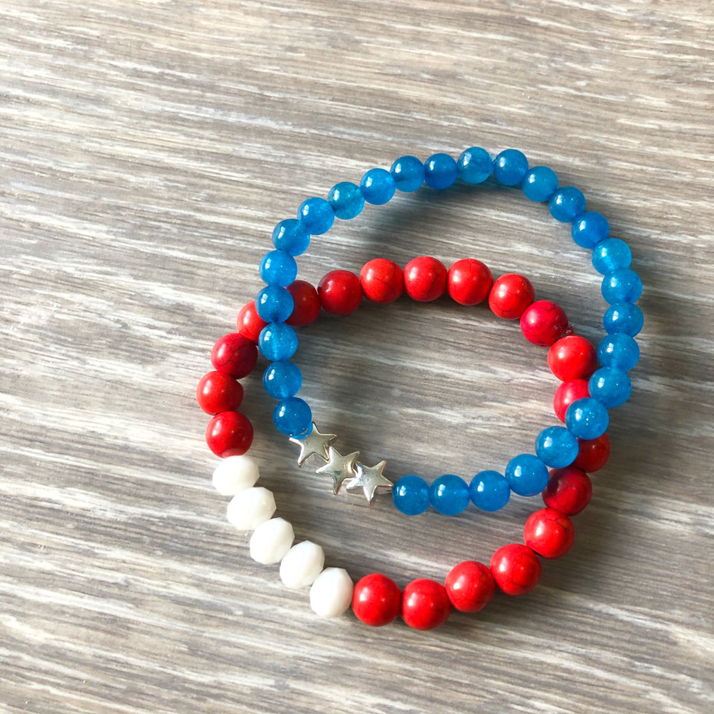 Blue Star Beaded Bracelet