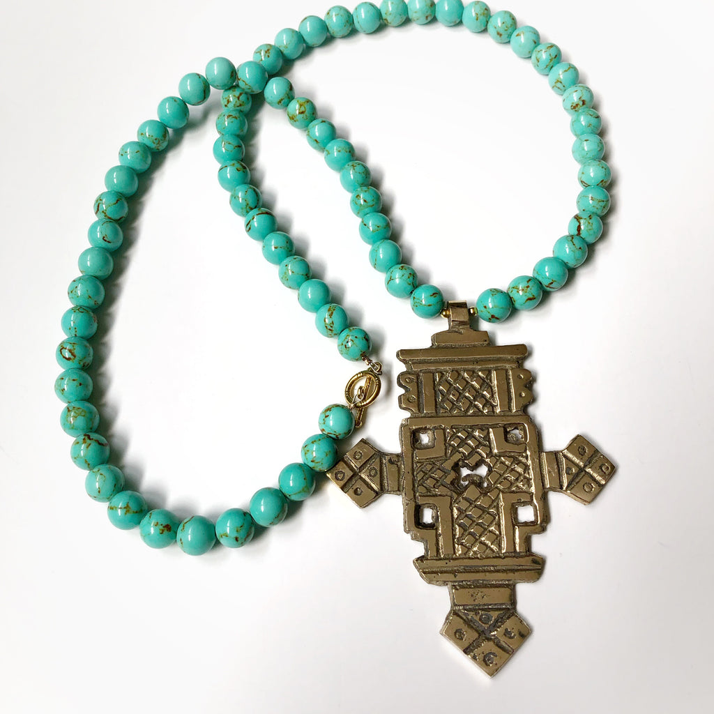 Turquoise Ethiopian Cross Necklace