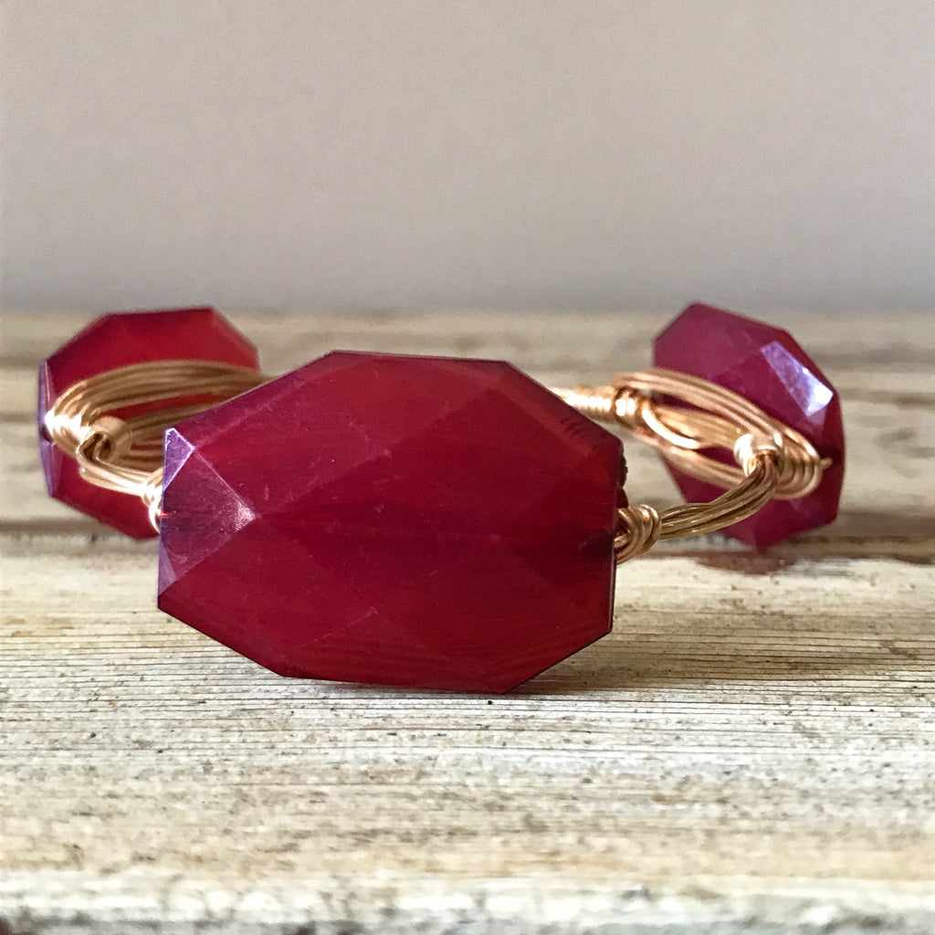 Burgundy Acrylic Wire Wrap Bangle