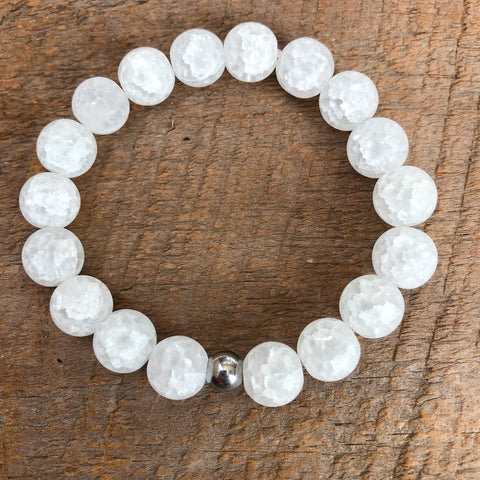 Frosted White Agate Bracelet